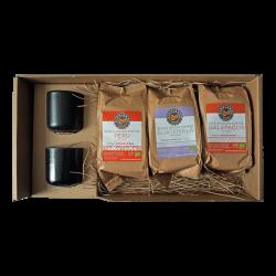 Koffiebonen Cadeauverpakking - Highlands Gold + 2 luxe koffiekopjes zwart